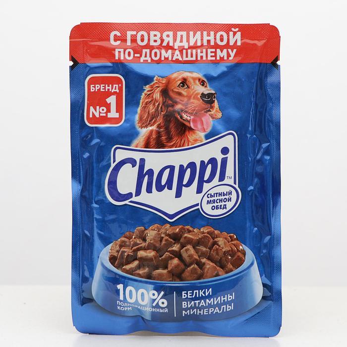 Влажный корм Chappi для собак, с говядиной, пауч, 100 г