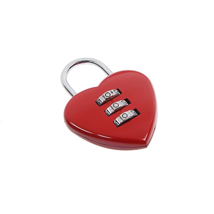 """Замок навесной кодовый TUNDRA """"Сердце"""", красный"""