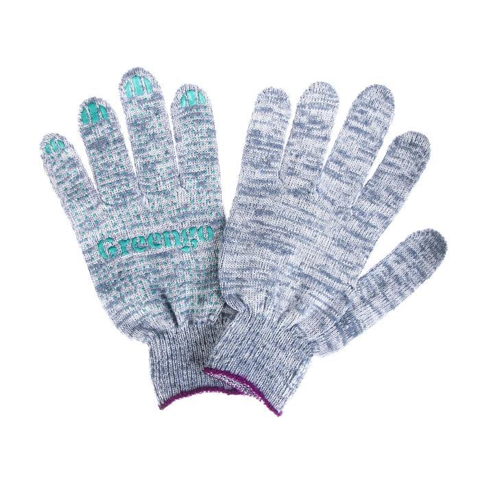 Перчатки, х/б, вязка 10 класс, 6 нитей, размер 9, с ПВХ точками, серые