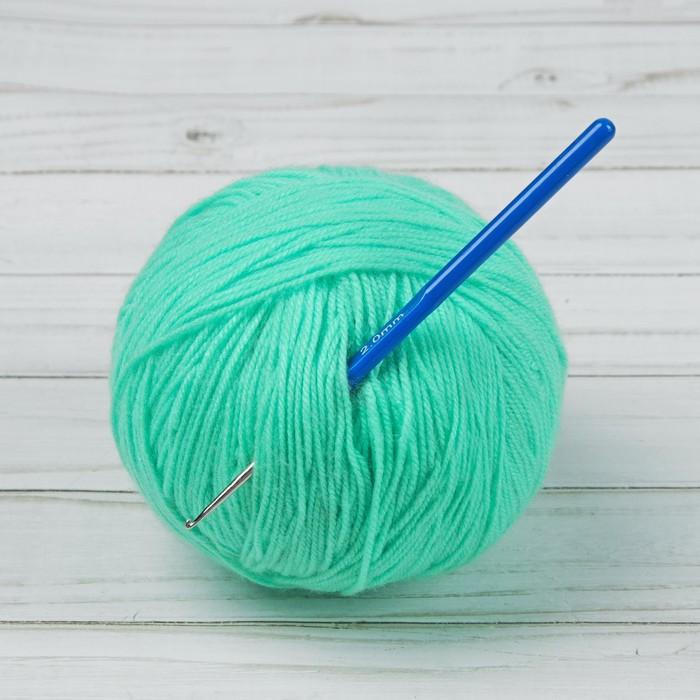 Крючок для вязания, с пластиковой ручкой, d = 2 мм, 13,5 см, цвет синий