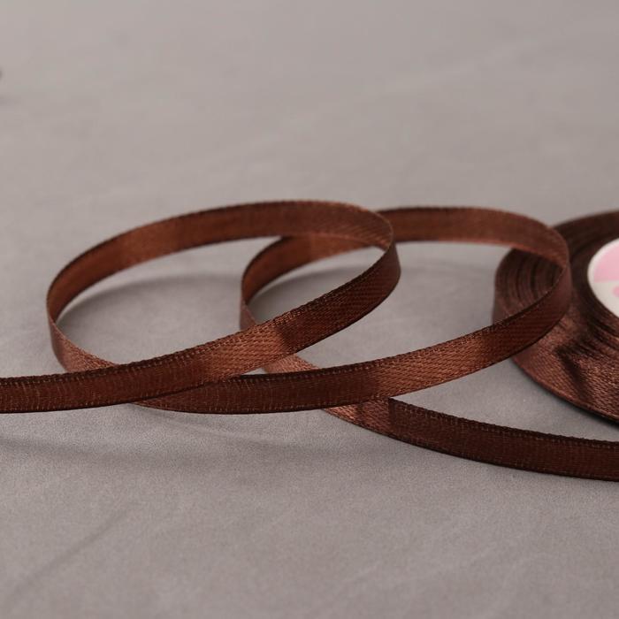 Лента атласная, 6 мм ? 23 ± 1 м, цвет шоколадный №31