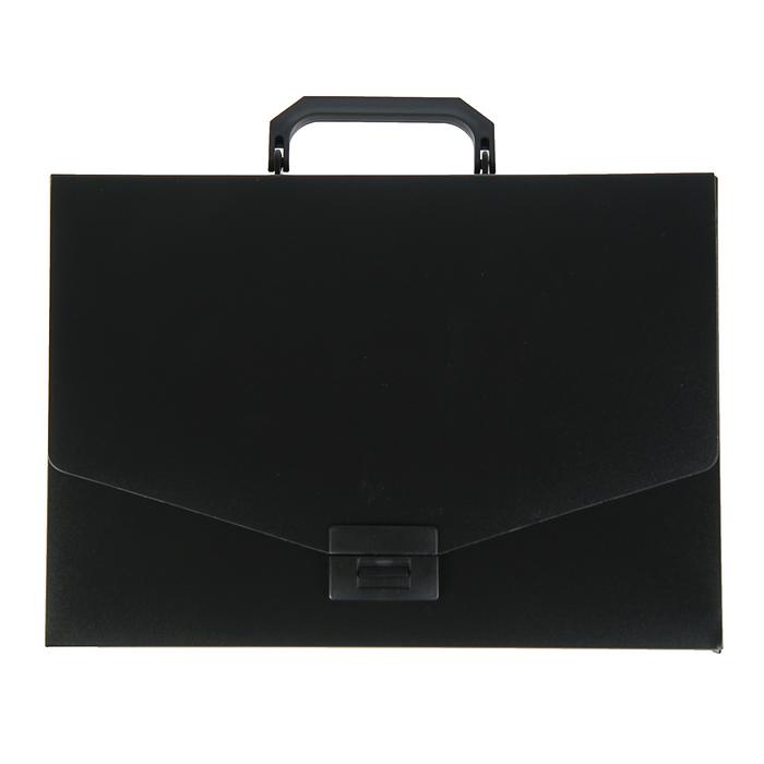 Папка-портфель А4, 1 отделение Calligrata, 700 мкм, песок, чёрная