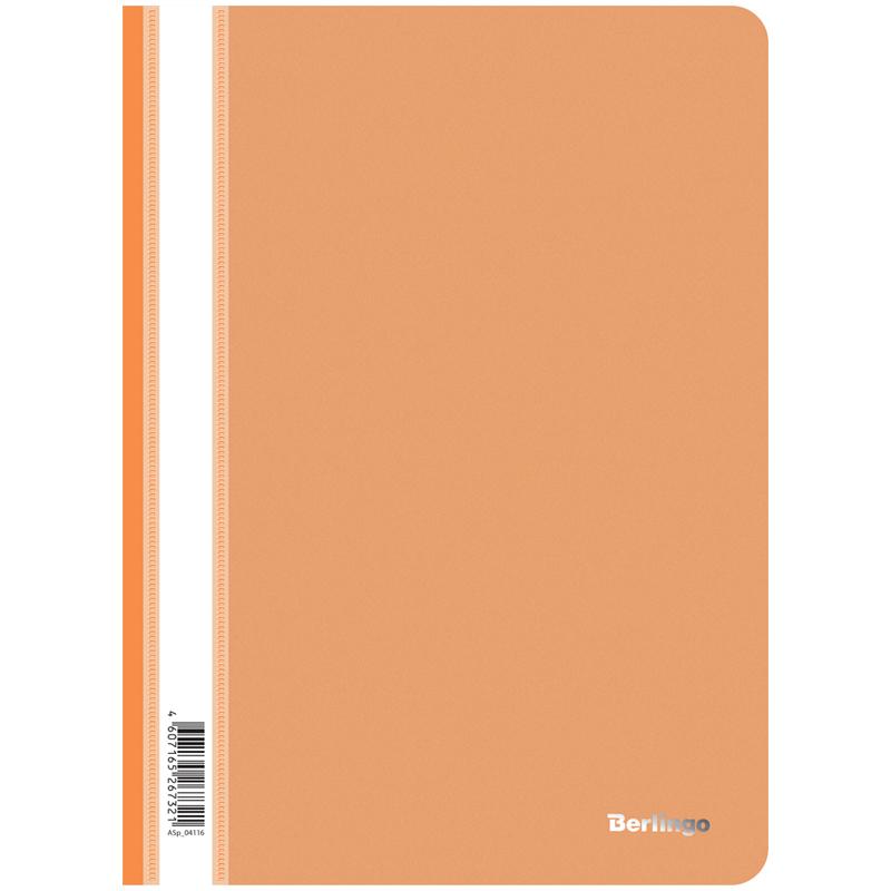 Папка-скоросшиватель пластик. Berlingo, А4, 180мкм, оранжевая с прозр. верхом