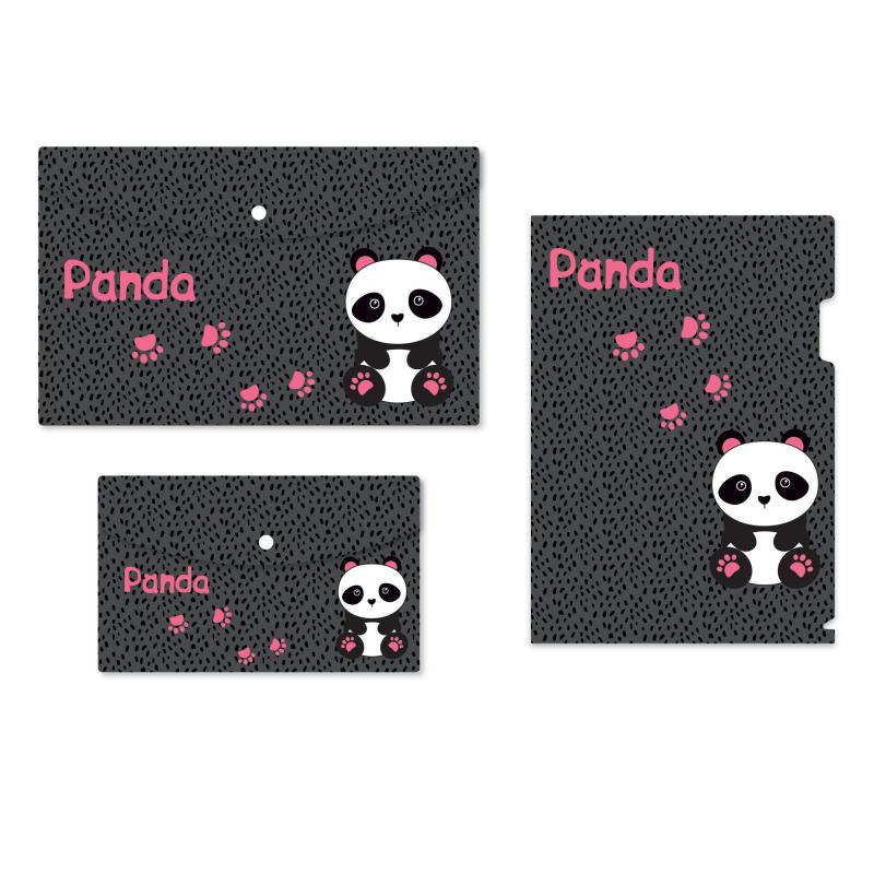 Набор папок 1School Panda 3 шт/уп (уголок А4, конверт на кнопке А4, А5)