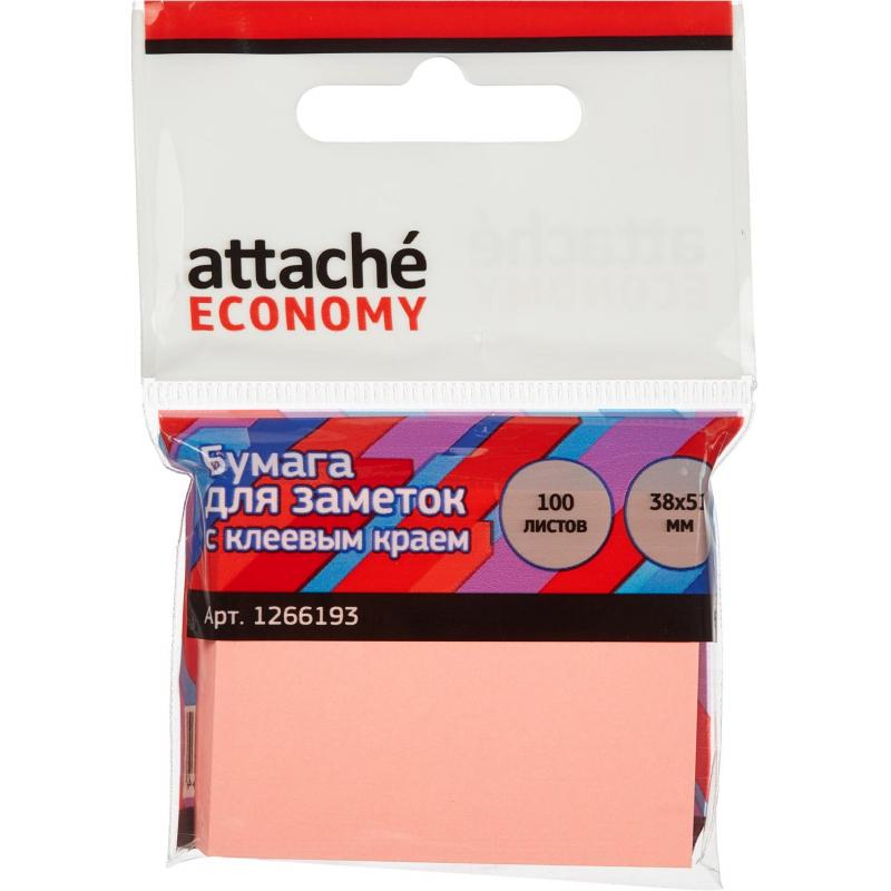 Стикеры Attache Economy с клеев.краем 38x51 мм,100 лист неоновый розовый