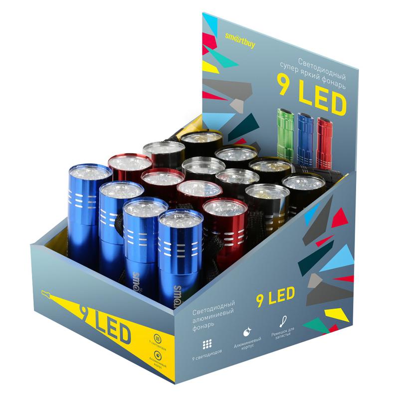 Фонарь Smartbuy display-box 16, светодиодный, алюминиевый, 9 LED, 3*ААА (не в комплекте)