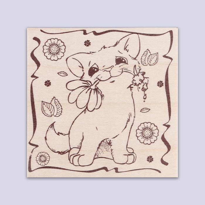 """Доска для выжигания """"Котик с цветком"""""""