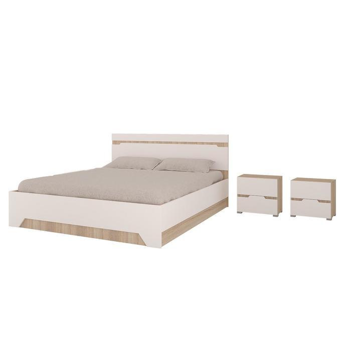 Кровать и 2 тумбы Анталия, 1674х900х2058, Белый/Дуб сонома