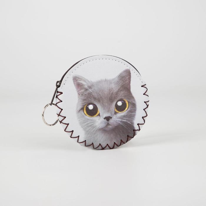 Монетница-брелок, отдел на молнии, цвет белый, «Кот»