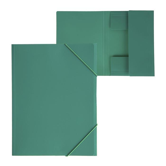 """Папка на резинке А4, 500 мкм, Calligrata, корешок 4 мм, до 300 листов, тиснение """"песок"""", зелёная"""