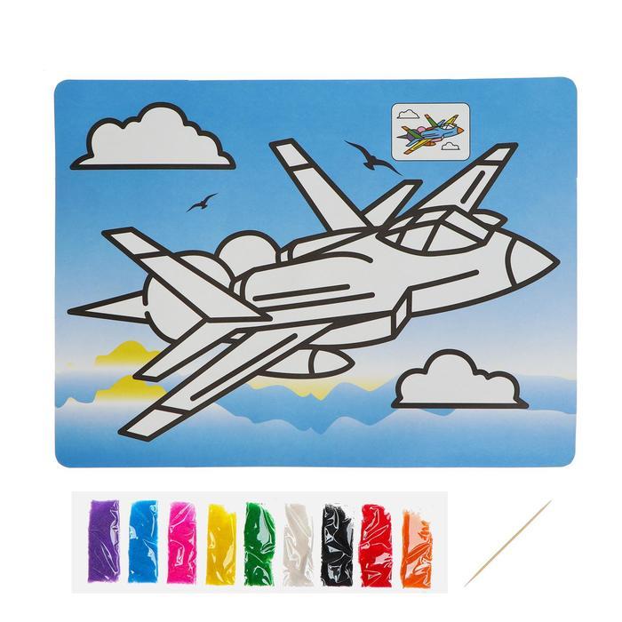 Фреска с цветным основанием «Истребитель» 9 цветов песка по 2 г