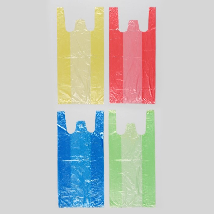 """Пакет """"4 цвета"""", полиэтиленовый, майка, МИКС, 40х20 см, 8 мкм"""