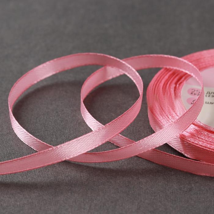 Лента атласная, 6 мм ? 23 ± 1 м, цвет жемчужно-розовый №41