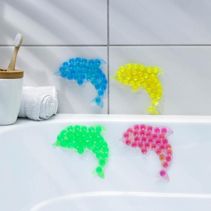 Мини-коврик для ванны «Дельфин», 11?12 см, цвет МИКС
