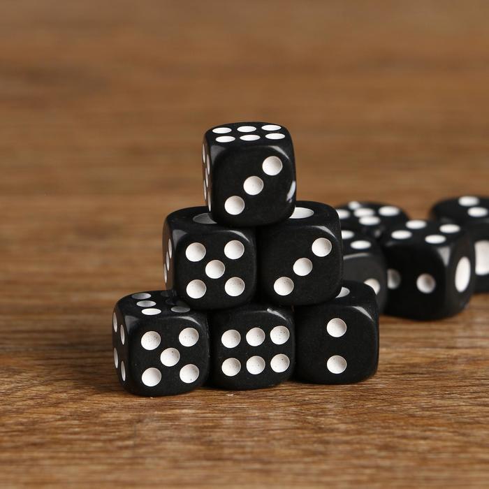 Кубики игральные 1.4?1.4 см, чёрные с белыми точками, фасовка 100 шт