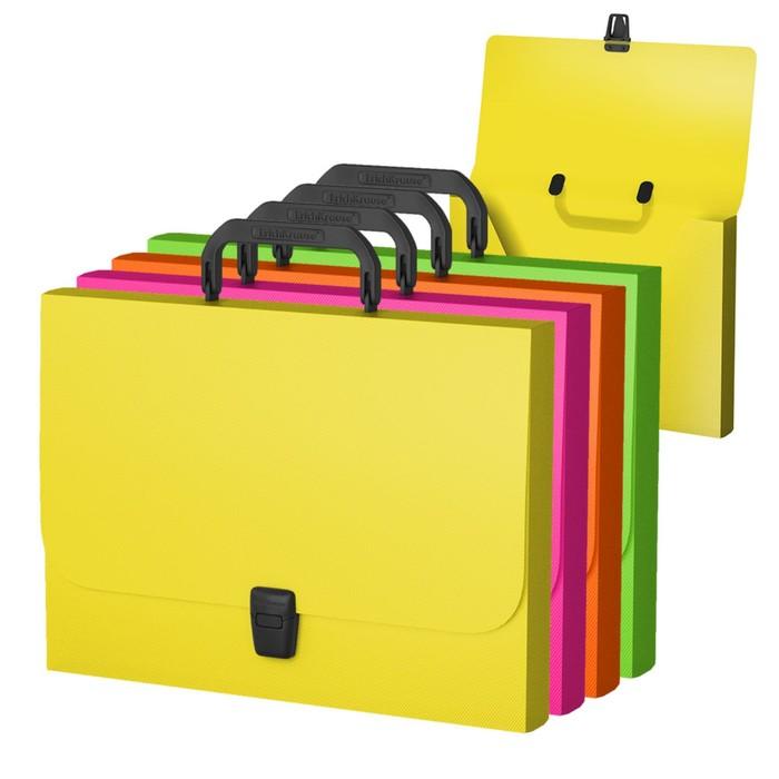 Папка-портфель А4, Erich Krause Glance Neon, пластиковая, микс