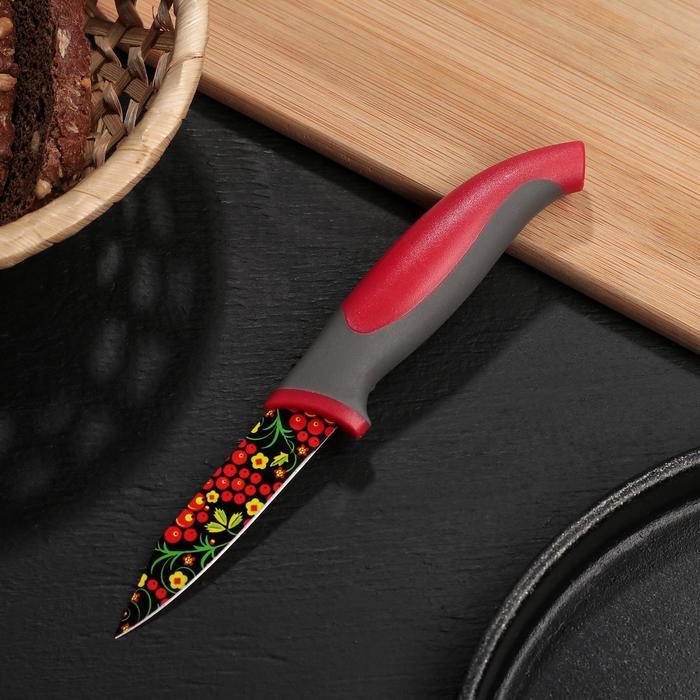 """Нож кухонный с антиналипающим покрытием """"Русский узор"""", лезвие 8 см"""