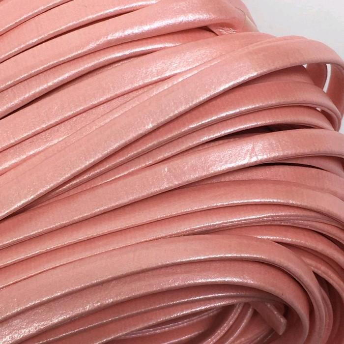 Шнур декоративный, кожзам, 5 мм, цвет розовый