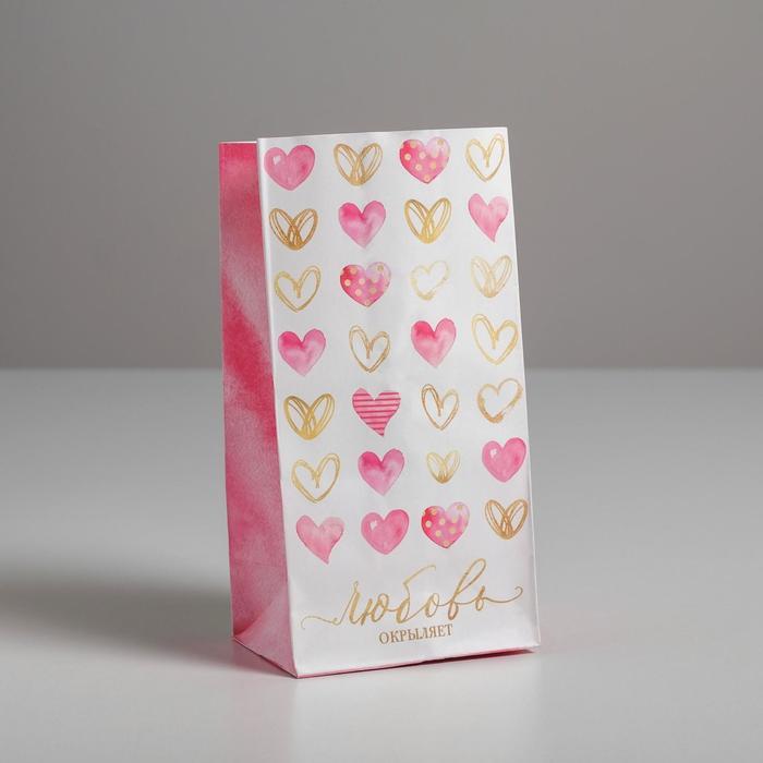 Пакет подарочный без ручек «Любовь окрыляет», 10 ? 19.5 ? 7 см