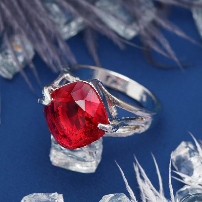 """Кольцо """"Ассорти"""" ромб, цвет красный в серебре, размер 17,18,19 МИКС"""