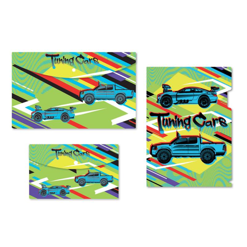 Набор папок 1School Tunning cars 3 шт/уп(уголок А4, конверт на кнопА4, А5)