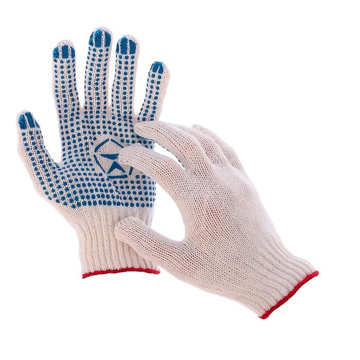Перчатки, х/б, вязка 7 класс, 4 нити, размер 9, с ПВХ точками, белые
