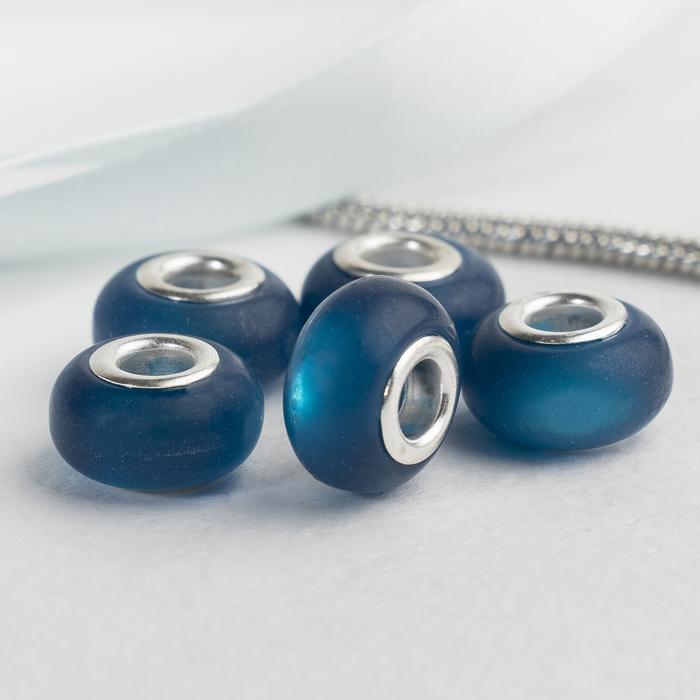 """Бусина """"Матовый стиль"""" под фосфорный агат, цвет тёмно-синий в серебре"""