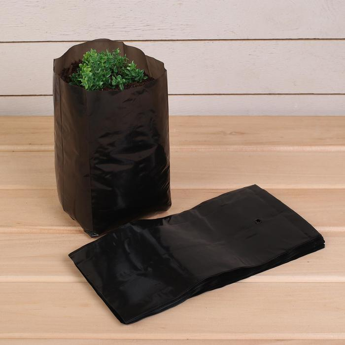 Пакет для рассады, 2 л, 10 ? 25 см, толщина 60 мкм, с перфорацией, чёрный