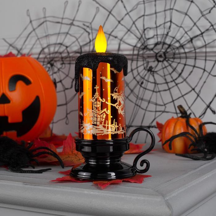 "Фигура световая ""Свеча на хэллоуин золотая"" 15х6х6 см, на батарейках, Т/БЕЛЫЙ"