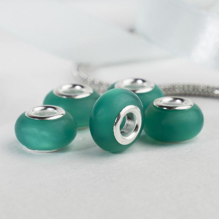 """Бусина """"Матовый стиль"""" под фосфорный агат, цвет зелёный в серебре"""