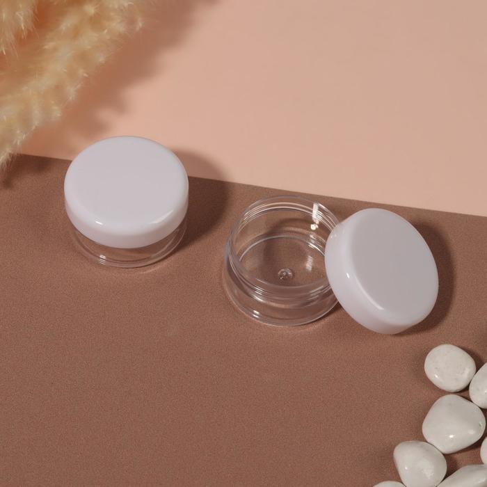 Баночки для декора, 2 шт, 10 гр, цвет белый/прозрачный