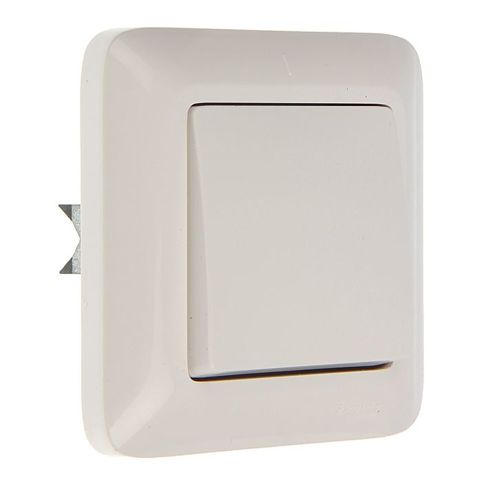 """Выключатель """"Прима"""" SchE S16-057-BI, 6 А, 1 клавиша, скрытый, цвет белый"""