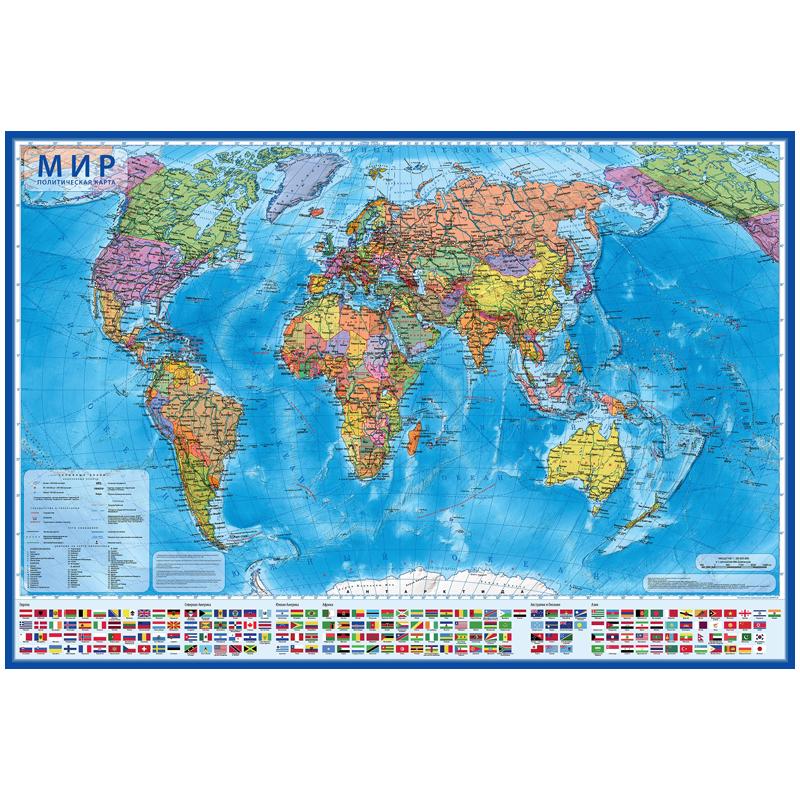 """Карта """"Мир"""" политическая Globen, 1:32млн., 1010*700мм, интерактивная, европодвес"""