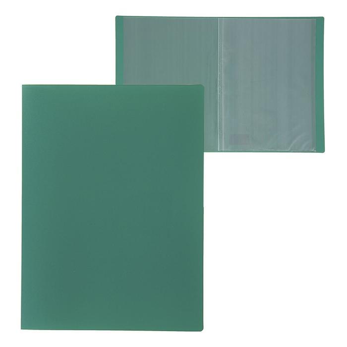 Папка A4, 10 прозрачных вкладышей, 500 мкм, Calligrata, песок, зелёная