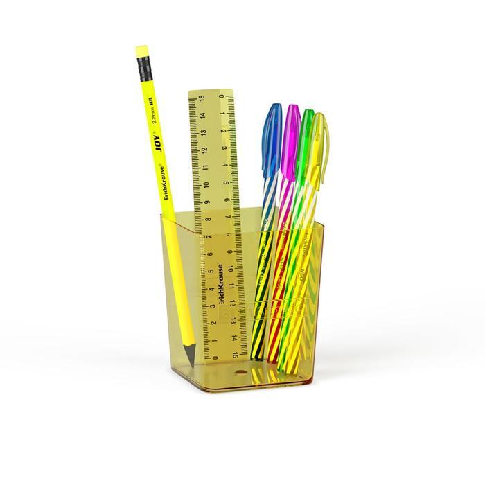 Набор настольный канцелярский 6 предметов ErichKrause Base, Neon, желтый