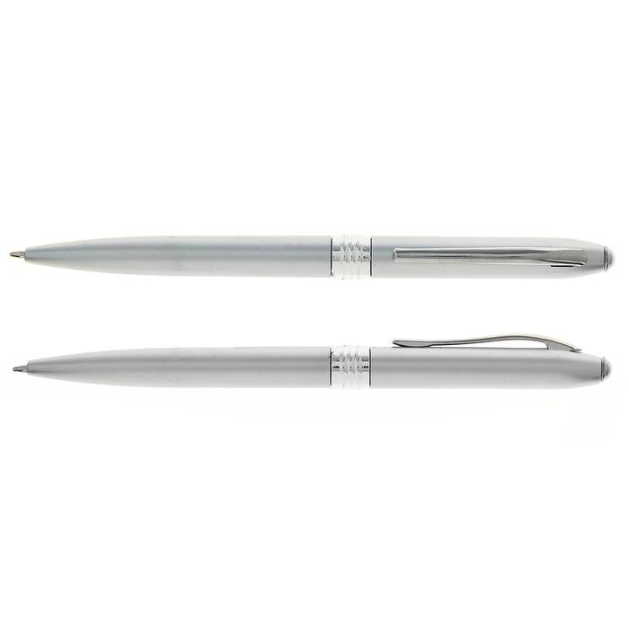 Ручка шариковая, поворотная, под логотип, корпус серебристый металлик