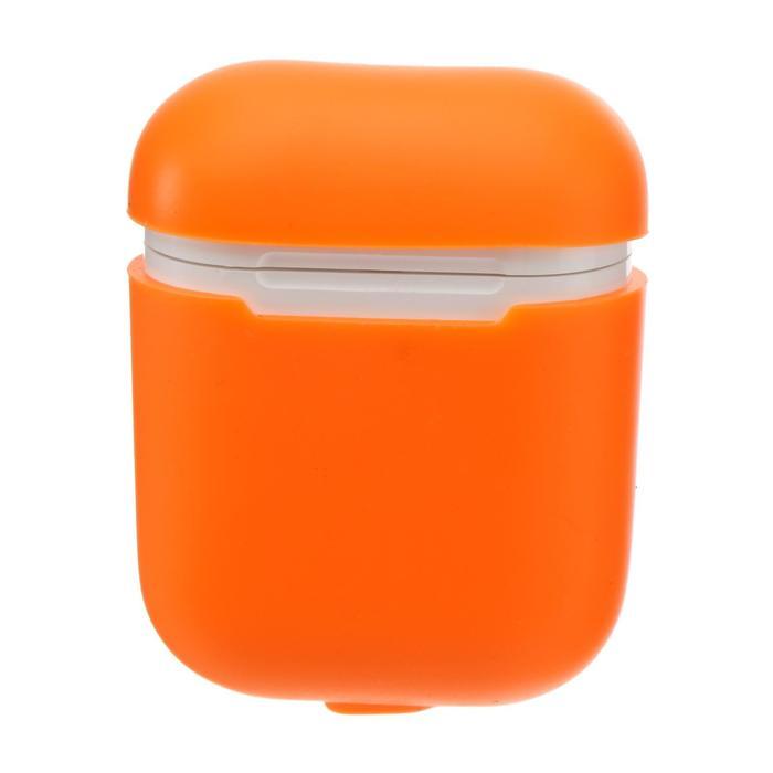 Чехол LuazON для футляра AirPods 1/2, мат. верха: силикон, 56х22х46 мм, оранжевый