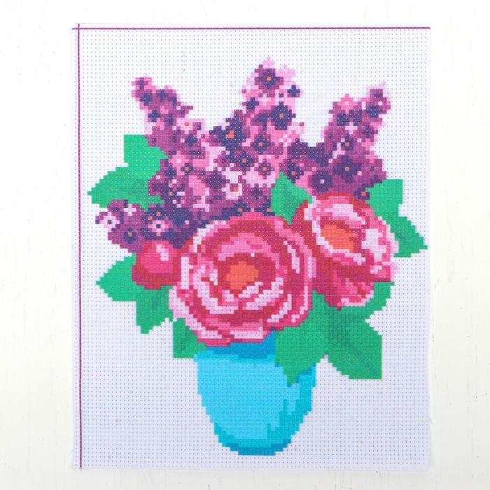 """Канва для вышивки крестиком """"Ваза с цветами"""", 25*20 см"""