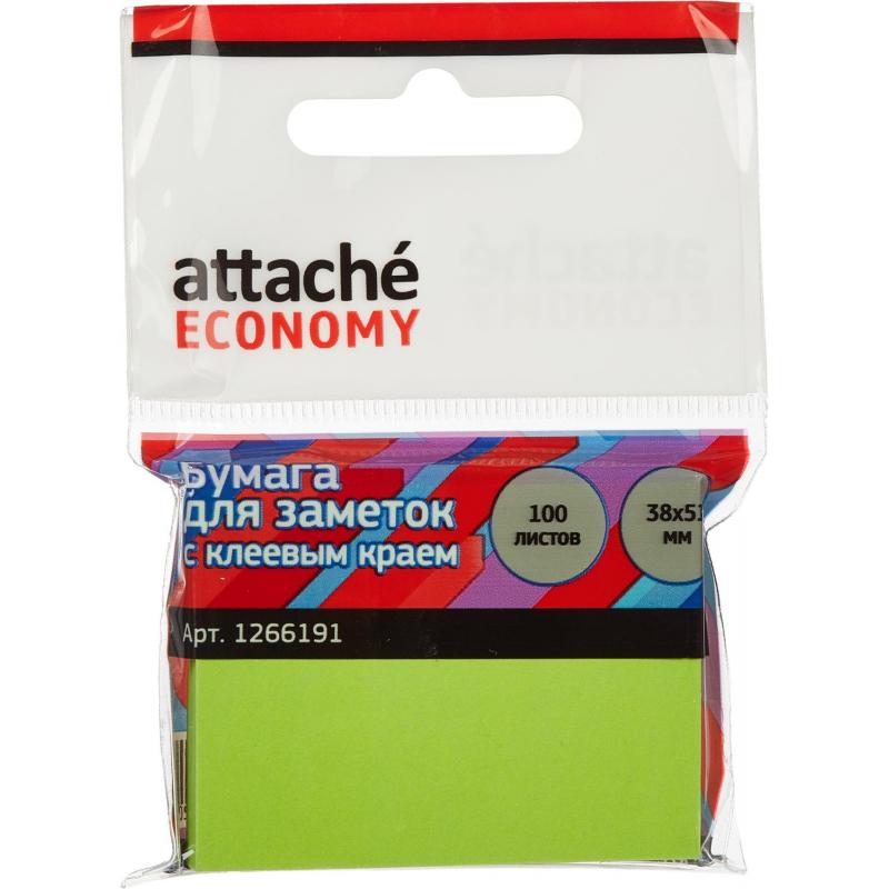 Стикеры Attache Economy с клеев.краем 38x51 мм,100 лист неоновый зеленый