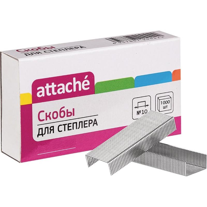 Скобы для степлера N10 Attache, никелированные 1000 шт в упаковке