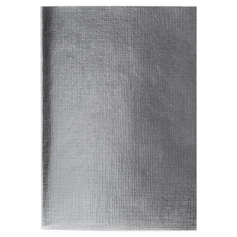 Тетрадь бумвинил, А4, 48 л., скоба, офсет, клетка, СЕРЕБРО Metallic, HATBER, 48Т4бвВ3