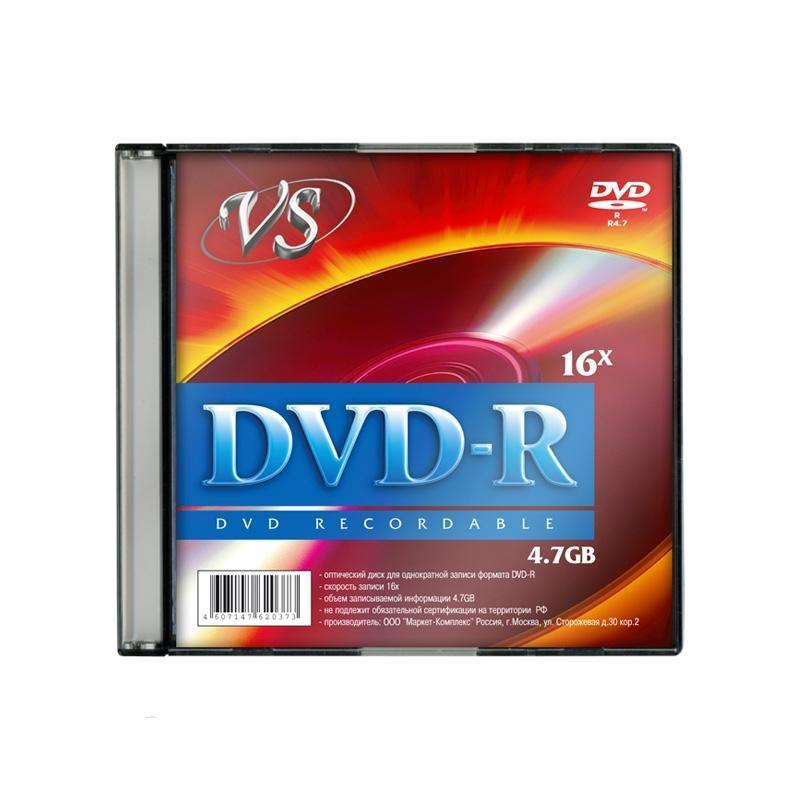 Носители информации DVD-R, 16x, VS, Slim/5, VSDVDRSL501