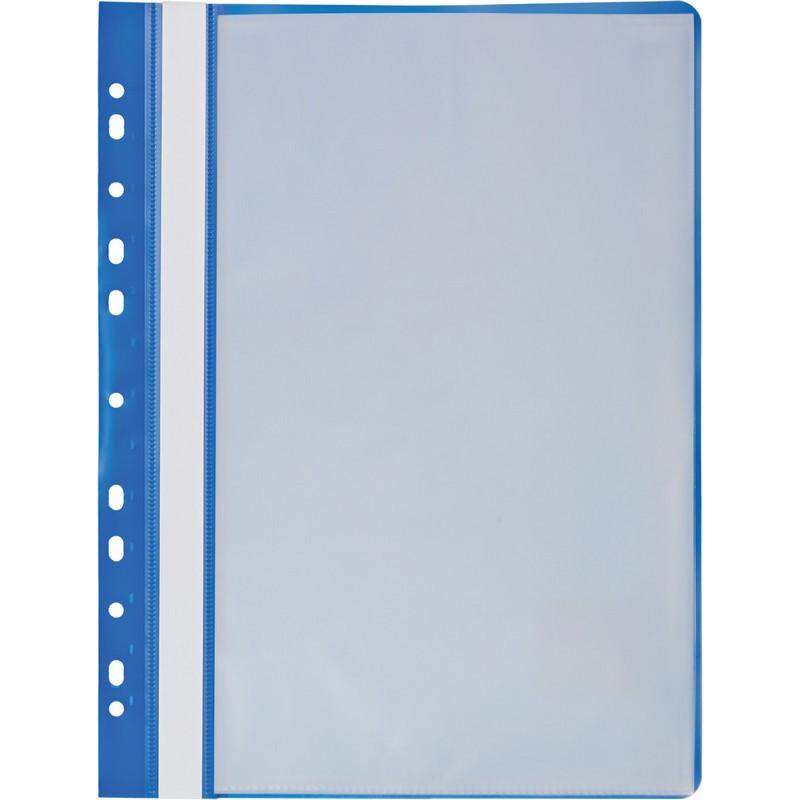 Папка файловая с перфорацией Attache Economy 10 синяя 30мкм файлы