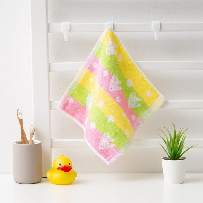 """Полотенце махровое Крошка Я """"Сердечки"""" 25*25 см, цв.желт/розовый, 100% хлопок, 360 гр/м2"""
