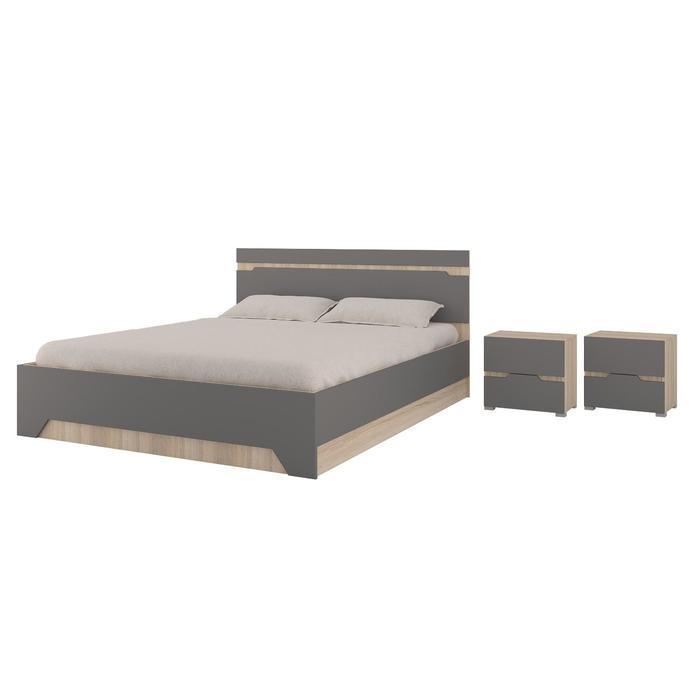 Кровать и 2 тумбы Анталия, 1674х900х2058, Графит/Дуб сонома