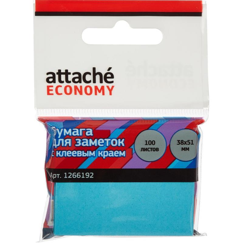Стикеры Attache Economy с клеев.краем 38x51 мм, 100 лист неоновый синий