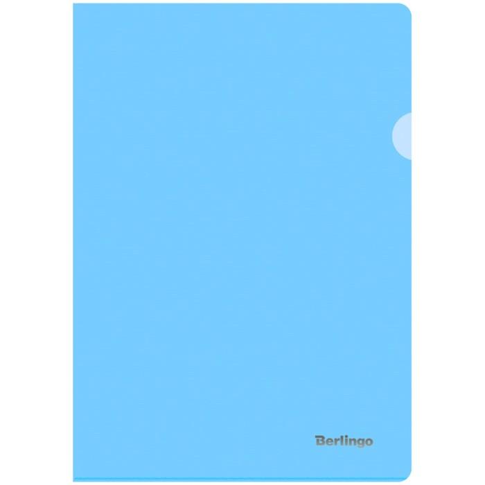 Папка-уголок А4, 180мкм Berlingo Starlight, прозрачная голубая