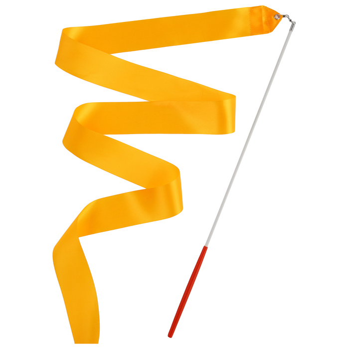 Лента гимнастическая с палочкой, 2 м, цвет оранжевый