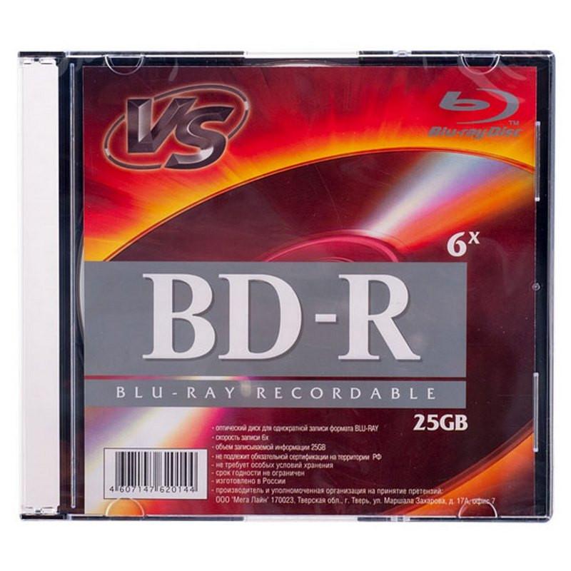 Носители информации Blu-ray BD-R, 6x, VS, Slim/1, VSBDR4SL02