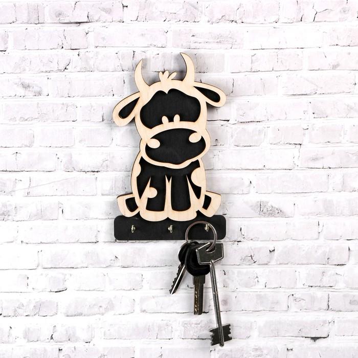 """Ключница """"Символ года 2021. Бычок"""", 3 крючка металлических, белая чёрная, 10?16.5 см"""